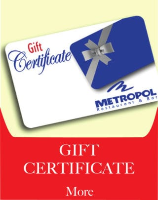 Gift Certificate - Metropol Restaurant - Puerto Rican, Cuban, and International Food.